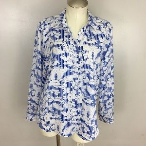 Chicos Floral Button Front Shirt 2 Large